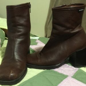Cherry brown leather boots